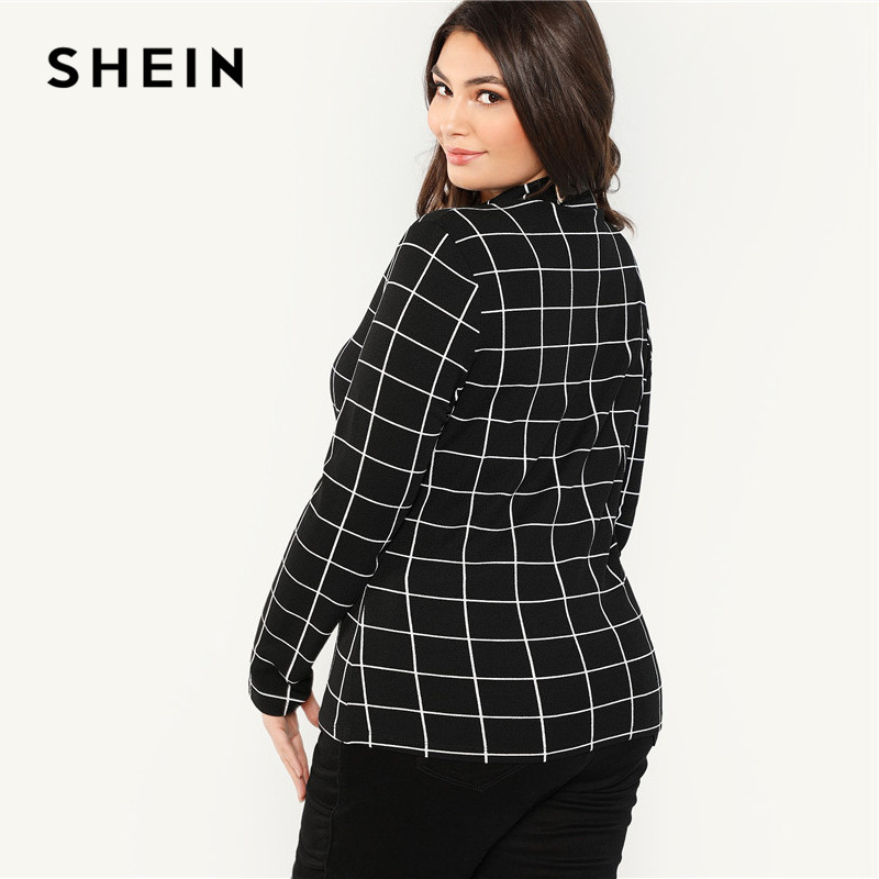 SHEIN Black Stand Collar Long Sleeve Plus Size Womens Slim Fit Plaid T-Shirt 2018 Autumn Winter Workwear Mock Neck Grid Top Tees 2
