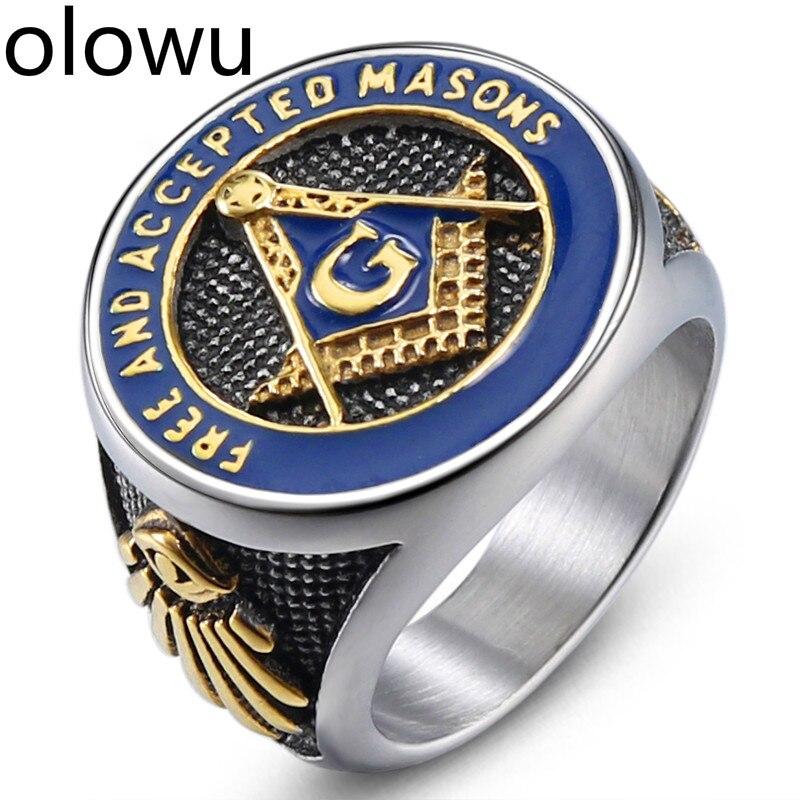 US $4 25 45% OFF|olowu Antique Masonic Ring For Men Silver Stainless Steel  Casting Ring Blue Enamel Master Mason Signet Men's Rings-in Engagement