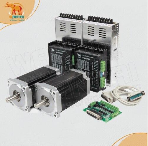 2 assi Nema 34 del motore Passo-passo con 12N. m, 6.0A e 2 corrispondenza DQ860MA Driver, 80VDC, 7.8A * 2 pz Fornitori Di Energia e DB25 bordo di Sblocco