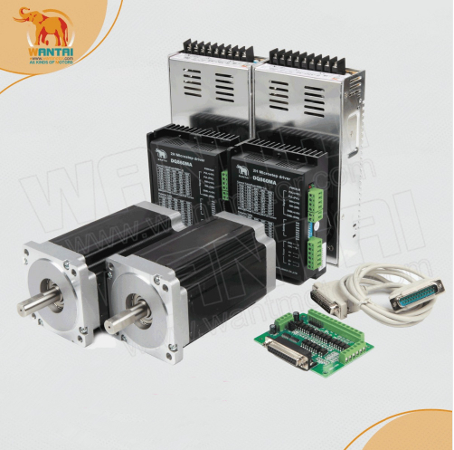 2 eje Nema 34 motor paso a paso con 12N. m, 6.0A y 2 Juego DQ860MA conductor, 80VDC, 7.8A * 2 piezas de proveedores y DB25 tablero del desbloqueo