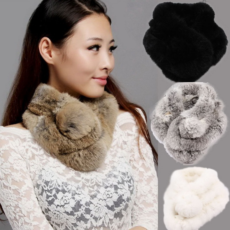 Fur Scarf  2017 Autumn And Winter Real fur Scarves Natural Rabbit Scarf With Ball Pele scarves  cachecol bufandas mujer 2016