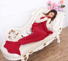 Soft Handmade Knitted Mermaid Tail Blanket Lovely Warm Sofa TV Blankets Cocoon Costume 195X95CM For Children Adults