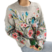 Floral Embroidered Sweater Pullover Autumn High Quality Gray Loose O Neck Boho Chic Knitted Warm Ladies Sweaters Streetwear Hot