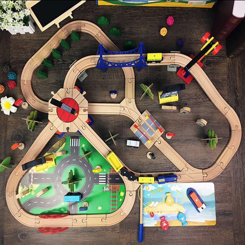 108 шт дорожка деревянная железная дорога набор Магнитный автомобиль модель слот Пазлы деревянная железная дорога Ранние развивающие игрушки для детей друзей