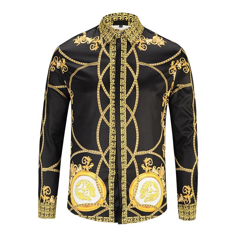 3D Printed Gold Palace Flowers Men Shirts Man Vintage Luxury Dress Shirts Chemise Homme 2019 New Men's Clothing Camisa Masculina