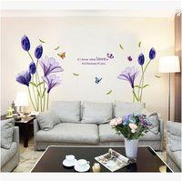 Yeni Moda Mor Laleler Çiçekler Duvar Çıkartmaları Oturma Odası Için DIY 3d Duvar Sticker Ev Dekor adesivo de parede