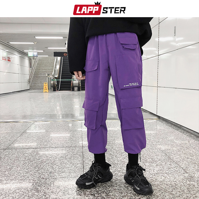 LAPPSTER Men Streetwear Cargo Pants 2019 Overalls Mens Baggy Hip Hop Joggers Pants Pockets Harem Pants Purple Sweatpants Korean