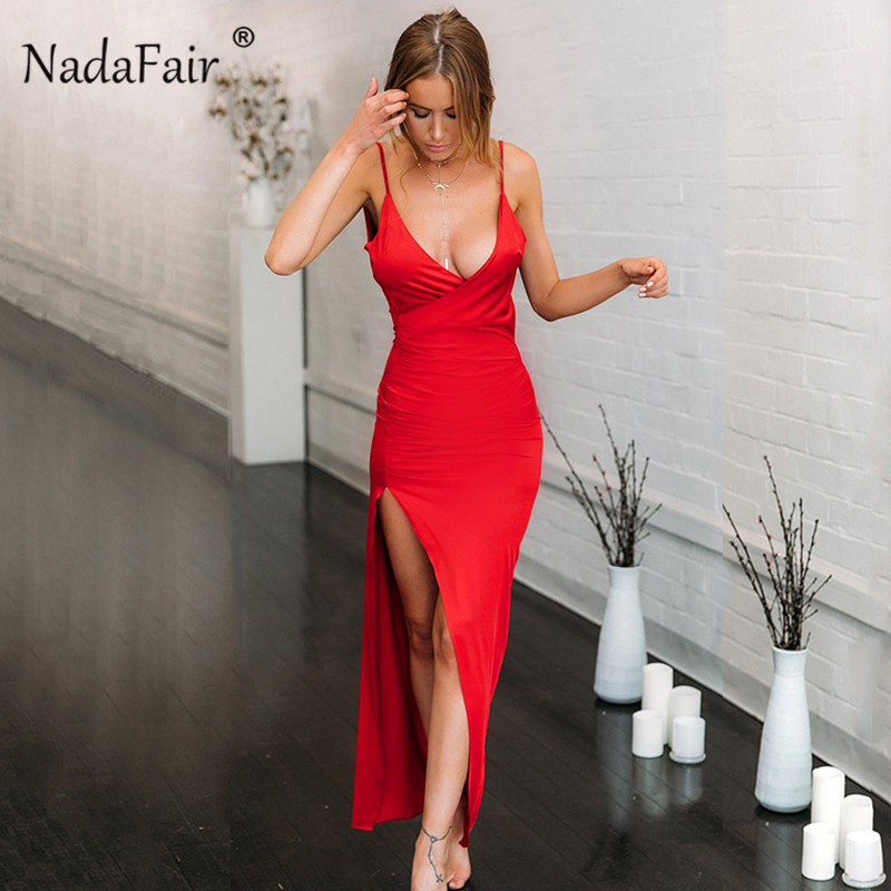 Nadafair tiefe v ansatz backless sexy sommer lange kleider frauen high side split schlank bodycon partei maxi kleid vestidos de fiesta