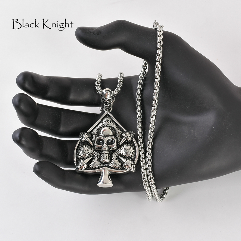 Vintage silver color Big Skull Spade pendant necklace mens cool stainless steel Spade skull Gothetic punk necklace BLKN0747 in Pendant Necklaces from Jewelry Accessories