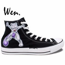 Wen Design Custom Hand Painted Shoes Pokemon Go Pocket Monster Mewtwo Anime Sneakers High Top Woman Man's Canvas Sneakers