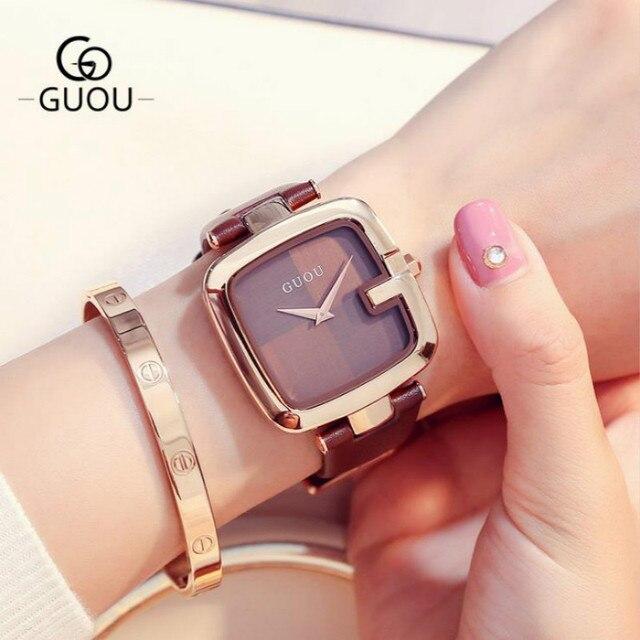 1b2e7ff88 New 2017 Watch Women Leather Band Square Dial Quartz Analog Wrist Watch  Fashion Luxury Women Watches montre homme reloj mujer