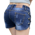 Sexy Denim Shorts Summer 2017 New Fashion Brand Women High Waist Short Skinny Sheath Buttons Hollow Out Short Jeans shorts 723