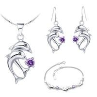 935 Sterling Silver Blue Crystal Wedding Women Set Cute Dolphin Necklace Bracelet Earrings Silver Jewelry Sets