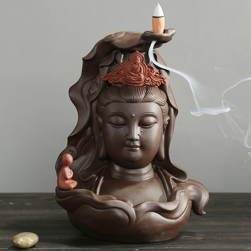 YX Boys worship Guanyin Zisha return censer High end Home Decor in Gift Box Backflow Incense