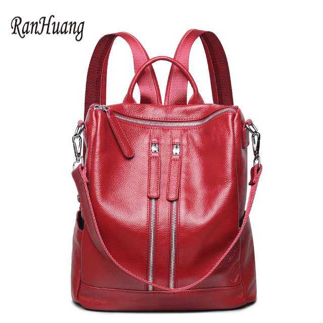 750aa12345 RanHuang Women Genuine Leather Backpack Double Zipper Fashion Backpack High  Quality School Bags For Teenage Girls