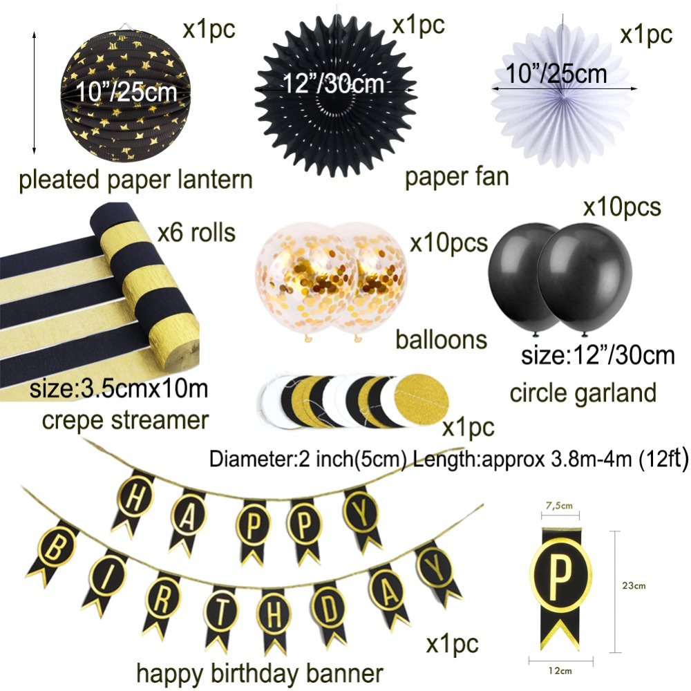 Happy Birthday Banner Black Gold Theme Party Decorations Kids Garland Children Baby Boy Girl Child Bunting Adult Favors Supplies