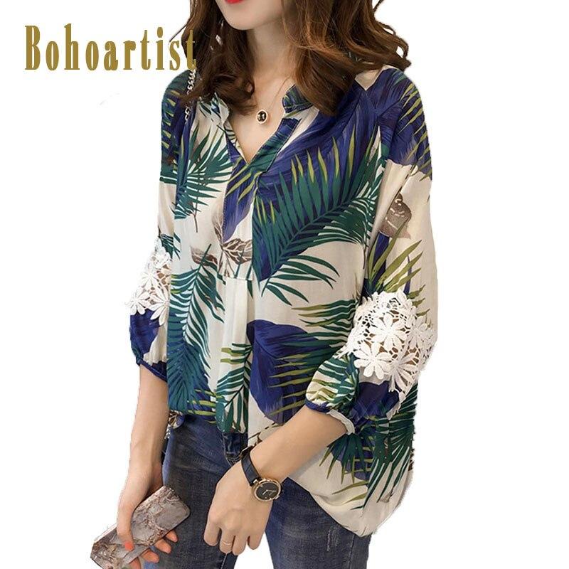 Bohoartisr Blouses Women Plus Size Korean Plant Print Lace V Neck Casual Female Elegant Loose Vocation Top Long Sleeve Blouse