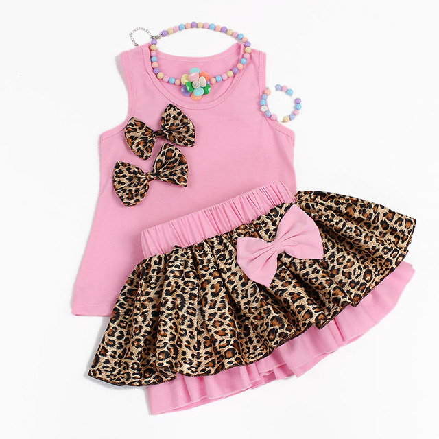 Moda leopard bow niños ropa conjuntos de verano sin mangas + tutu dress pink rose rojo verde 4 de algodón estilo de la alta calidad 4 unids/set caliente