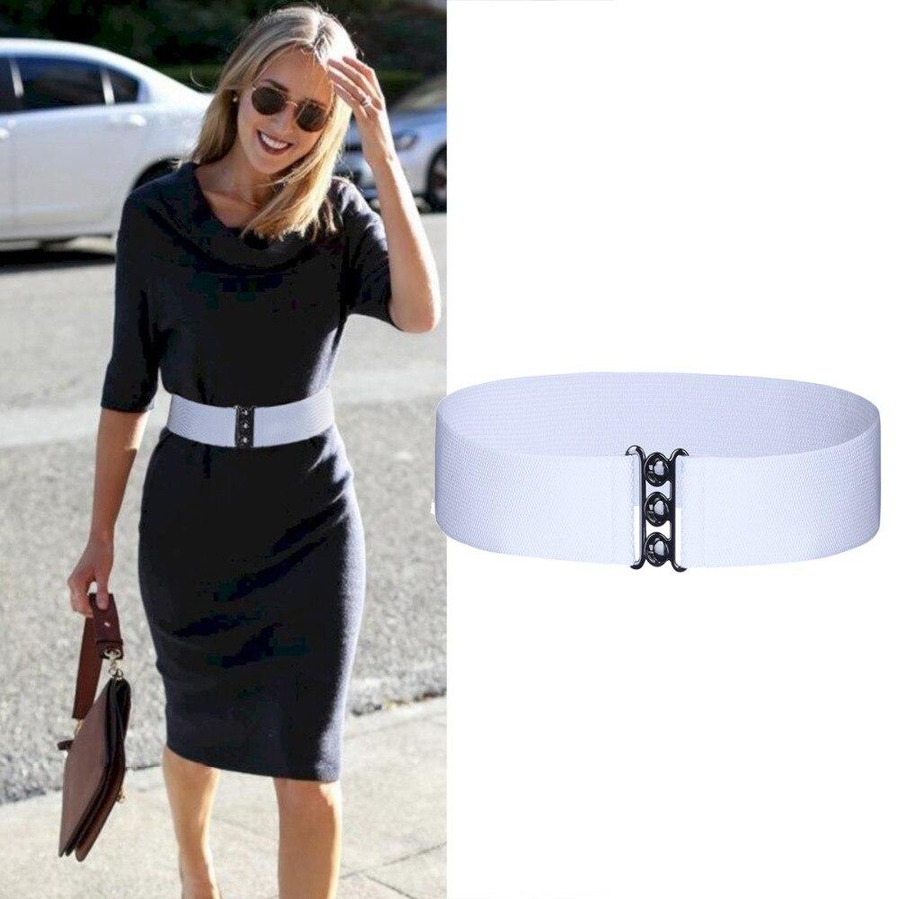 Women's Fashion Cinch Buckle Wide Stretch Elastic Waist Belt Corset Waistband Dropshipping Band Clasp Buckle