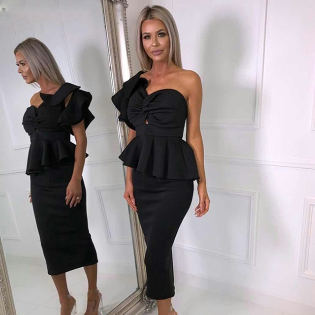 Amily.c 2018 New Spring Women Dress Sexy Bodycon Strapless Ruffle Chic Celebrity Party Black Pink Red Dresses Wholesale Vestidos