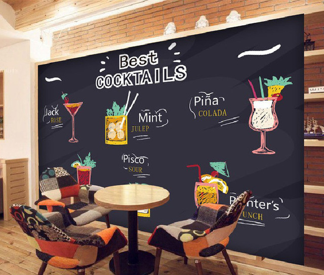 Large Cafe Bar Drinking Store Menu 3D Room Embossed Modern Wallpaper For 3 D Wall Paper
