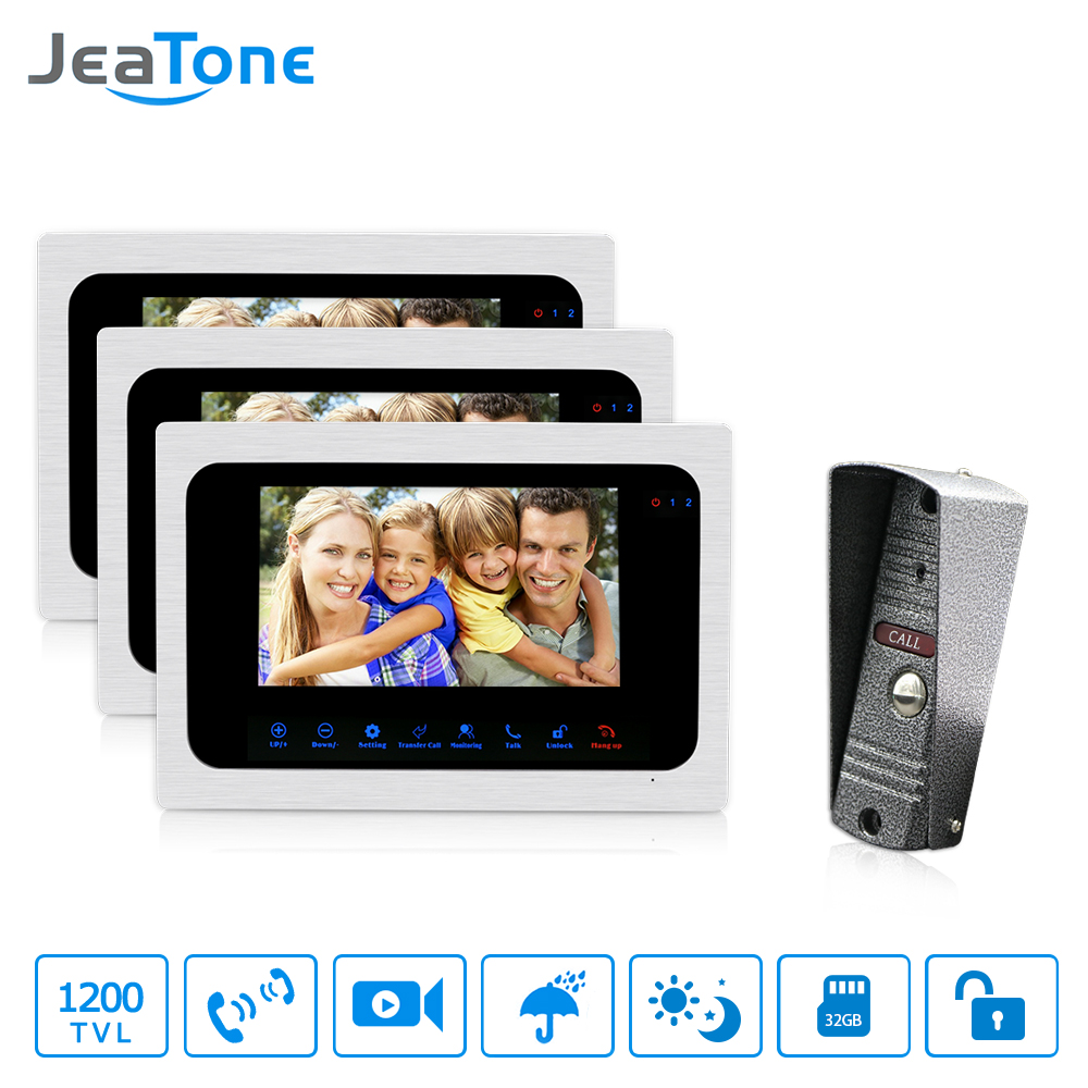 JeaTone Wired Video Door Phone Intercom 7 inch TFT Monitor Dual-way Remote Unlocking Night Vision PIR Sensor Motion Detection daminin video intercom 3 5 inch 2 0mp tft digital viewer with pir motion detection night vision