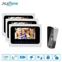 JeaTone Wired Video Door Phone Intercom 7 inch TFT Monitor Dual-way Remote Unlocking Night Vision PIR Sensor Motion Detection