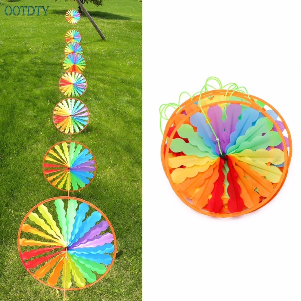 1PC Rainbow Wheel Windmill Wind Spinner Whirligig Garden Home Lawn Yard Decoration Toy For Boys Girls Baby #046