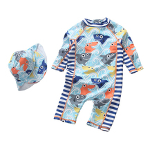 Dollplus Boy Swimsuit Kids One Piece Children Beachwear Toddler Swimwear for Baby Cartoon Shark