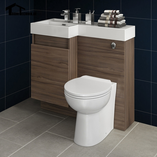 Uk Shipping 3 906mm Modern Bathroom Walnut Vanity Unit Countertop Basin Back To Wall Toilet