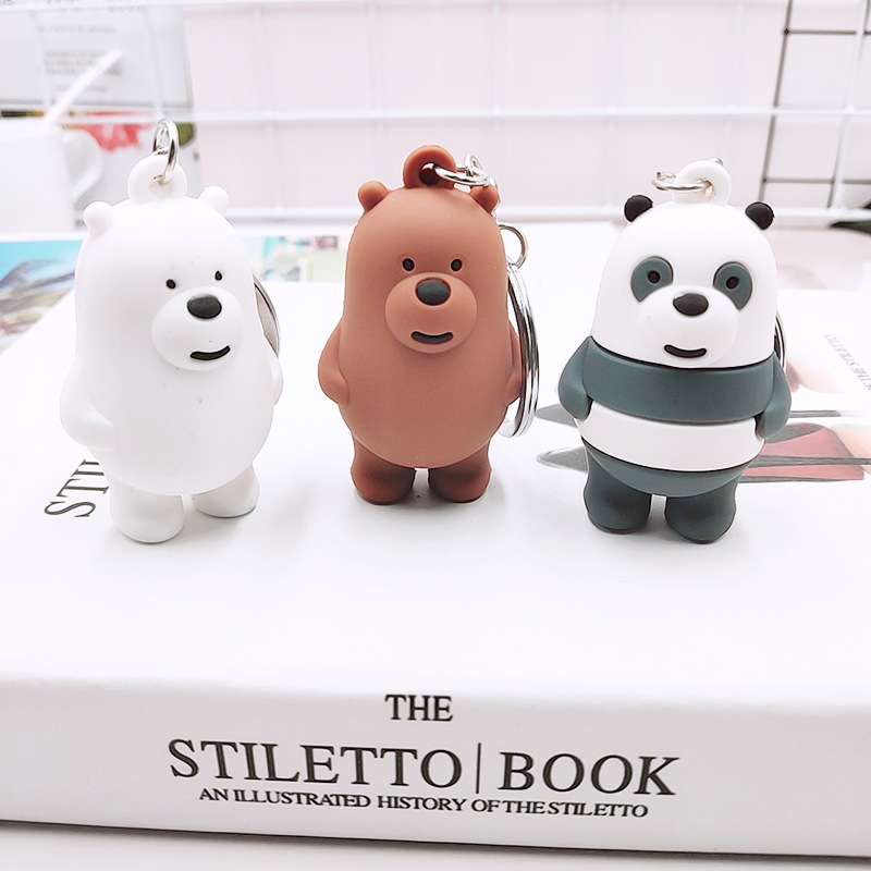 Three Cute Bear Animation Key chain cars For Men Women  PVC Bag Accessories Doll Keychain Metal Panda Gift 3D Toy ring