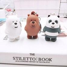 Three Cute Bear Animation Key chain cars For Men Women  PVC Bag Accessories Doll Keychain Metal Panda Gift 3D Toy ring