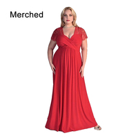 Merched Sexy V Neck Patchwork Hollow Out Backless Women Dress Elegant Party Empire Long Dress 5XL