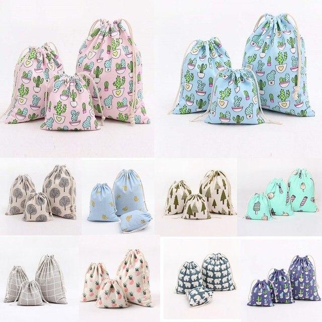 1pcs Cactus Tree Pattern Drawstring Cotton Linen Storage Bag Sunglass Jewelry Organizer Makeup Cosmetic Coins keys Bags 49042