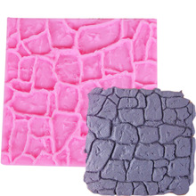 M476 Cake tools Dry Wall Formas De Silicone Mold Castle Stone Bark Fondant Cake Molds Mould Chocolate Kitchen Access 10*10*0.4CM