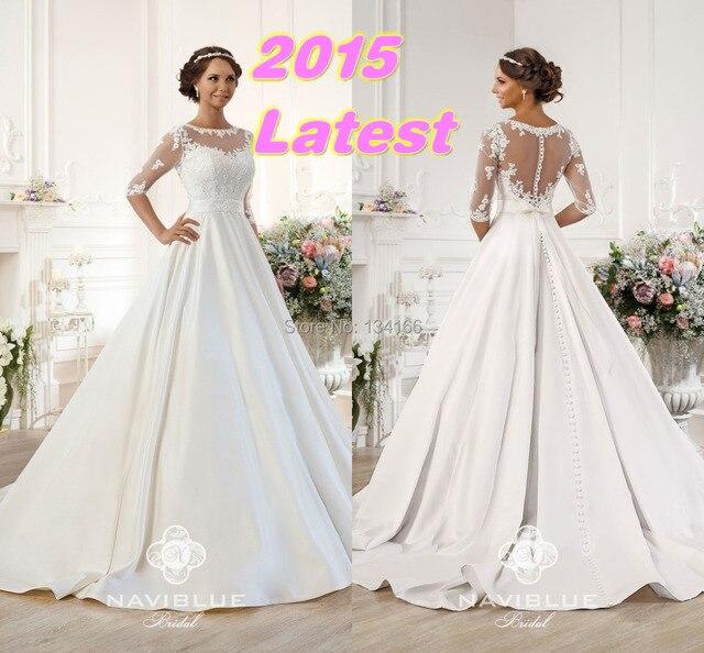 eleganten weißen satin 2015 naviblue a linie brautkleider halbarm ...