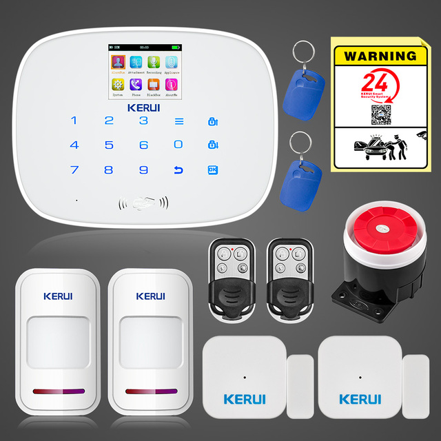 Best Offers KERUI g19 gsm wireless alarm home security system door sensor alarm Android App control RFID disarm house burglar alarm