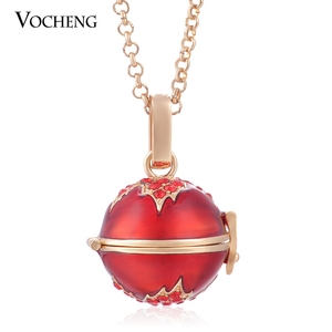 Image 2 - 10pcs/lot Vocheng Angel Locket Colorful Maple Leaf Style Pendant Necklace with Stainless Steel Chain VA 085*10 Free Shipping