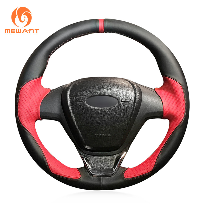 MEWANT Black Leather Red Leather Car Steering Wheel Cover for Ford Fiesta 2008-2013 Ecosport 2013-2016 цена