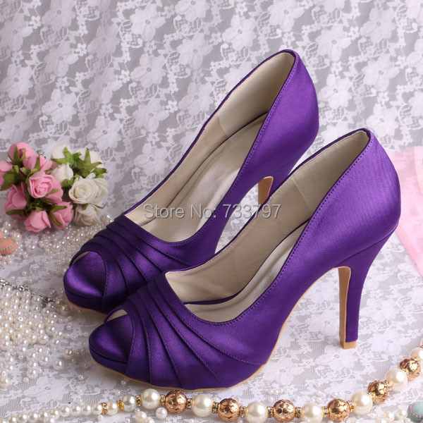 Wedopus Graceful Bridal Dress Purple Satin Heels Platform Ladies Shoes Peep Toe Dropship