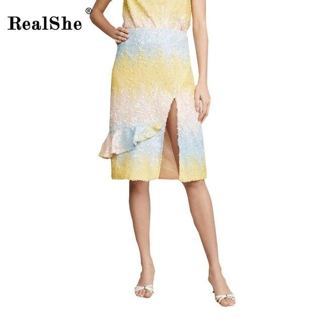 RealShe Fashion Skirt Womens High Elastic Waist Pencil Midi Skirt Ladies Summer Elegant Sexy Bodycon Slit Skirt Plus Size