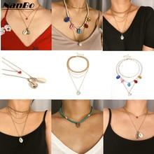 купить Gold Shell Choker Necklaces For Women Fashion Statement Pendant Necklace Wedding Party Collar Jewelry ZA Bijoux Brincos 2019 дешево