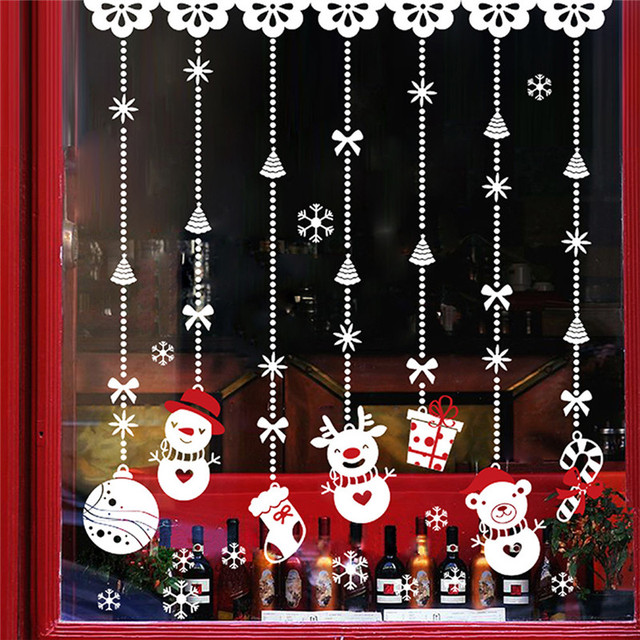 Clasic hanging snowman gift christmas window sticker pvc xmas home wall back ground sticking stickers drop