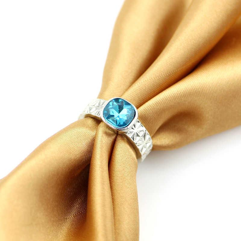 คริสตัลแหวนเปิด Spinner ปรับเคลือบเงินเปิดแหวนนิ้วมือสำหรับผู้หญิงแฟชั่นของขวัญเครื่องประดับสำหรับบุรุษ