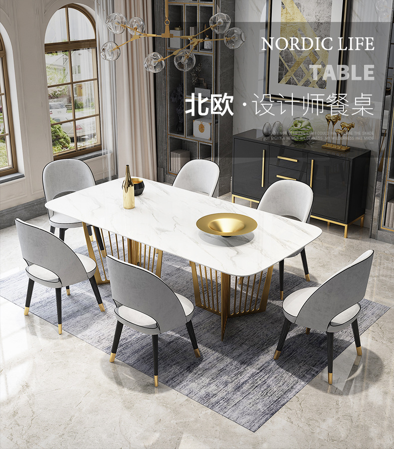 High Dinner Table With White Marble Top And 6 Chairs Dining Tables Aliexpress