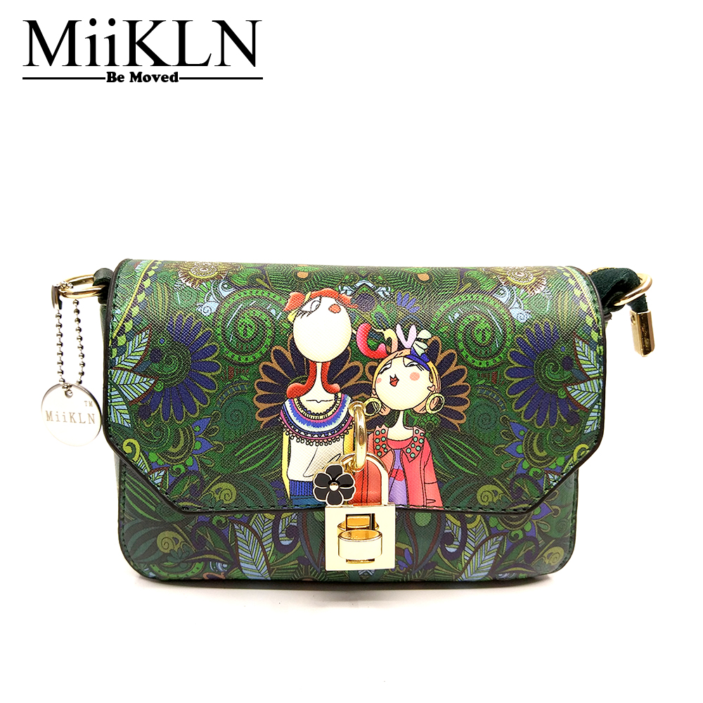 MiiKLN SL Series Women Bag Cross Body Print 3D Fashion Design Small Message Bags Shoulder PU Soft Leather Flap Mini Bag