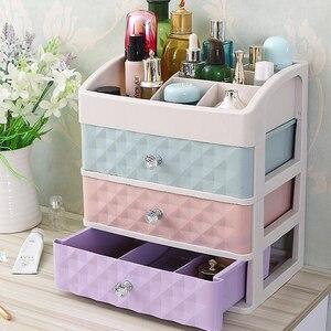 Image 2 - Plastic Drawer Makeup Organizer Cosmetic Beauty Box Nail Desktop Storage Case Brush Lipstick Nail Polish Container Bathroom Item