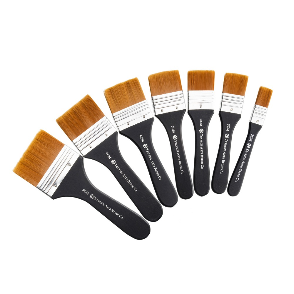Set of 7 Flat Paint Brushes for Applying Gesso, Acrylic paint, Oil paint, Watercolor