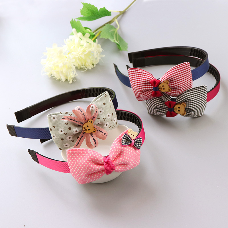 Fashion Girl Plastic Headband Cute Bows Flower Spot Hairband Girls Lovely Hair Band Headwear Children Gifts Hair Accessories children headbands baby headwear flower hairband pearl girl headband hair band princess accessories p239