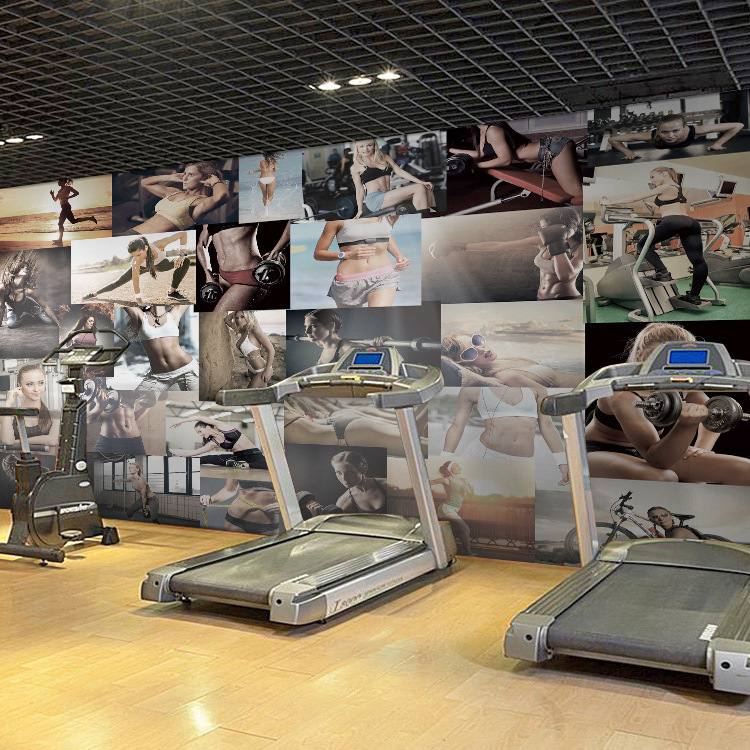 GYM Sports Body Building Exercise Wallpapers for Wall 3d Livingroom Room Photo Wall Paper Prints Bar Health Club Wall Mural Roll shinehome black white cartoon car frames photo wallpaper 3d for kids room roll livingroom background murals rolls wall paper